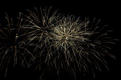 Fireworks burst. With many colors, sparkles, stars and twinkles, horizontal with copy space royalty free stock image