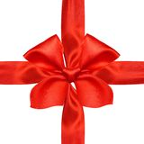 Red satin ribbon and bow Royalty Free Stock Image