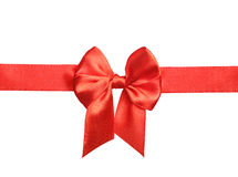 Red satin ribbon and bow Royalty Free Stock Photography