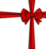 Red Satin Ribbon and Bow Isolated Royalty Free Stock Images