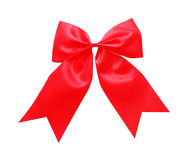 Red satin Ribbon bow Isolated on white. Background royalty free stock photo