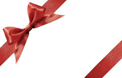 Red satin ribbon bow isolated on white background Stock Photo