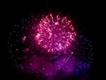 Fireworks burst. With many colors, sparkles, stars and twinkles, horizontal with copy space stock photos