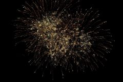 Fireworks burst. With many colors, sparkles, stars and twinkles, horizontal with copy space stock photography