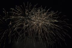 Fireworks burst. With many colors, sparkles, stars and twinkles, horizontal with copy space stock image