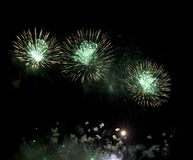 Fireworks burst. With many colors, sparkles, stars and twinkles, horizontal with copy space royalty free stock photos