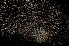Fireworks burst. With many colors, sparkles, stars and twinkles, horizontal with copy space royalty free stock photo