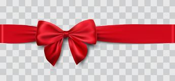 Red satin ribbon and bow. Vector illustration Stock Photos