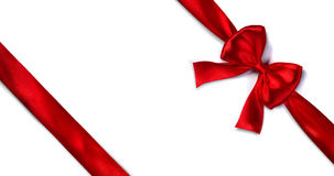 Red Satin Ribbon With Bow Royalty Free Stock Photos
