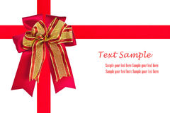 Red satin ribbon and gift bow isolate. Red satin ribbon and gift bow over white background Stock Photo