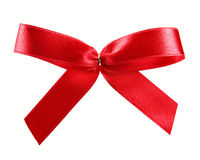 Red satin ribbon gift bow isolated on white. Background royalty free stock photography