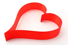 Red satin ribbon heart Stock Photos