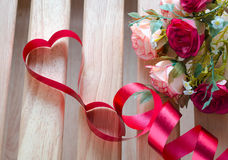 Red satin ribbon heart Stock Image