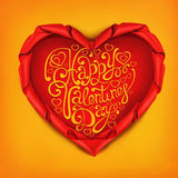 Red satin ribbon heart shaped frame with lettering. Valentines day card template Royalty Free Stock Photo
