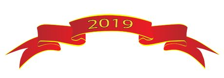 Red 2019 Satin Ribbon. A red satin or silk ribbon with the legend 2019 Royalty Free Stock Photos