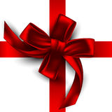 Red satin ribbon, tied with a bow, highly realistic illustration Stock Image
