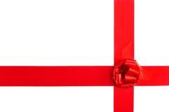 Red satin ribbonb bow Stock Image