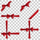 Set with Red Bow and Ribbon royalty free illustration
