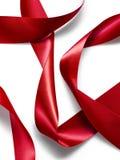 Red satin silk ribbon Stock Photography