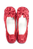 Red Satin Slippers Stock Images