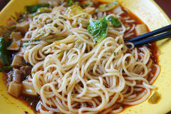 Red sauce beef noodles Stock Photography