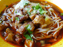 Red sauce beef noodles Royalty Free Stock Photo