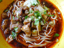 Red sauce beef noodles Stock Photos