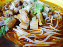 Red sauce beef noodles Stock Images