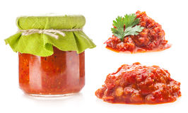 Red Sauce in glass jar Royalty Free Stock Photos