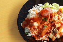 Red sauce pork rice Stock Photo