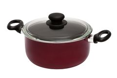 Red saucepan. Modern red saucepan on a white background stock photography