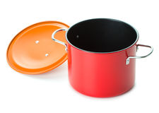 Red saucepan with lid Stock Images
