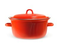 Red saucepan, vector illustration Royalty Free Stock Photography