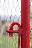 Red Scaffolding Pole and Hook Detail Royalty Free Stock Images