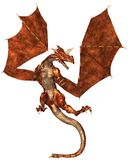 Red Scaled Dragon Attacking. Horned dragon with red metallic scales, 3d digitally rendered illustration Royalty Free Stock Photos