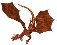 Red Scaled Dragon Swooping to Attack. Horned dragon with red metallic scales swooping to attack, 3d digitally rendered illustration Stock Photos