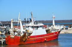 Red fishing boat or ship Royalty Free Stock Photography