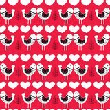 Red Scandinavian Love Birds Pattern Design royalty free illustration