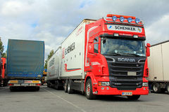 Red Scania R500 V8 With DB Schenker Trailer Stock Image