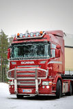 Red Scania R500 V8 Truck with Bull Bar Royalty Free Stock Images