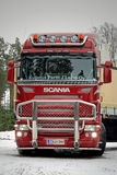 Red Scania R500 V8 Truck Ready to Go Royalty Free Stock Photo
