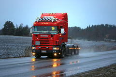 Red Scania 4-series Bobtail Christmas Truck Royalty Free Stock Image