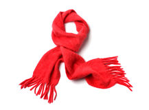 Red scarf. Isolated on white Stock Photography