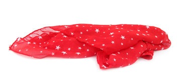 Red scarf covered with white stars Stock Photo