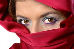 Red scarf covered woman stock photography