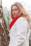 Red scarf woman Royalty Free Stock Images