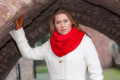 Red scarf woman Royalty Free Stock Image