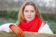 Red scarf woman Stock Photos