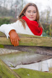 Red scarf woman Stock Photo