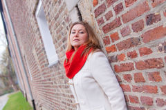Red scarf woman Stock Images